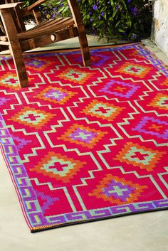 Captivating Print Fab Habitat Lhasa Indoor Outdoor 48 X 72 Rug Orange And Violet Oh How Art Thee Beauty