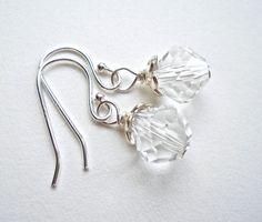 Crystal Earrings Sterling Silver Crystal Drop by PeppersJewelry, $22.00