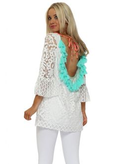 LAURIE & JOE Scoop Back Aqua Tassle White Lace Tunic Top