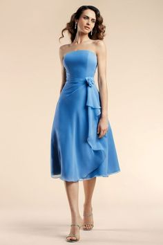 Strapless chiffon bridesmaid dress with dropped waistThis done in cotton sateen would make a great summer dress!