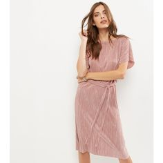 New Look Shell Pink Pleated Tie Waist Midi Dress (€22) ❤ liked on Polyvore featuring dresses, shell pink, pleated dress, mid calf dresses, pink dress, white midi dress and pink midi dress