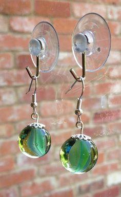 Vintage marble earrings blue green classic 80s cats-eye glass dangle drop  Copy on Etsy, £5.00
