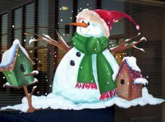"Winter snowman painting on window. Window painting information with patterns and e-Book ""Window Painting Made Easy""  http://windowwoman.com"