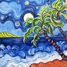 Moonlit Palms by ReneeCoatesArt on Etsy