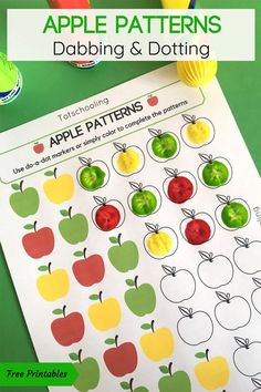 FREE printable Apple themed coloring activity for preschool and kindergarten kids. Use dot markers or any kind of coloring utensils to complete the apple patterns! Great math activity for Back to School or Fall!
