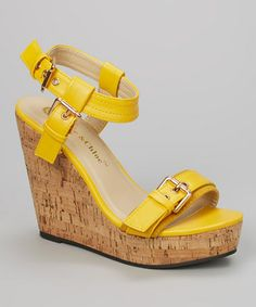 Look what I found on #zulily! Yellow Rose Ankle-Strap Wedge Sandal by Chase & Chloe #zulilyfinds