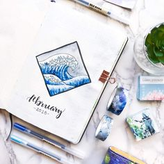 Amazing 'The Great Wave' inspired page by check out her feed for a giveaway of one of our notebooks too Bullet Journal Planner, Bullet Journal Monthly Spread, Bullet Journal Notes, Bullet Journal Ideas Pages, Bullet Journal Layout, My Journal, Journal Inspiration, Journal Organization, Drawing Journal