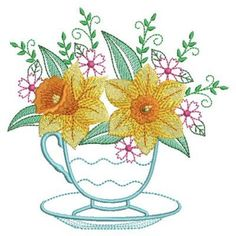 Teacup In Bloom 2, 10 - 3 Sizes! Ace Points Embroidery