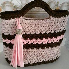 Free Crochet Bag, Crochet Tote, Crochet Handbags, Crochet Purses, Knit Crochet, Crochet T Shirts, Yarn Bag, Diy Tote Bag, Macrame Bag
