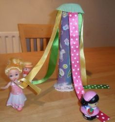 Make a mini May pole for a birthday party centrepiece