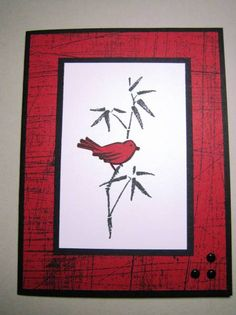 Asian Artistry note card by uoc23  ...  bird on bamboo ... black, white, red ... like a framed print ...