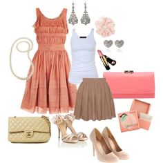 Pretty in apricot.    Think about your shoes, will you be in a park? If so, then perhaps flats, or small wedges..