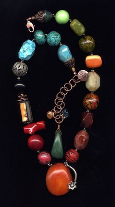 """Beads & Threads is where to go for """"What Women Buy for Themselves."""" Jewelry that is bright, colorful, and fun to wear--all handmade and original. #Necklace #Jewelryland.com"""