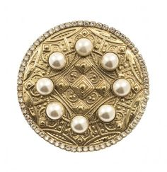 Bronze plated metal brooch with Swarowski strass,Pearl SW Greek Jewelry, Brooches, Jewelry Design, Bronze, Jewellery, Pearls, Metal, Accessories, Rhinestones