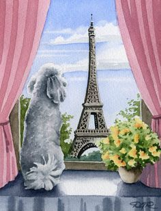 Hey, I found this really awesome Etsy listing at https://www.etsy.com/listing/166315241/white-poodle-in-paris-dog-watercolor-art
