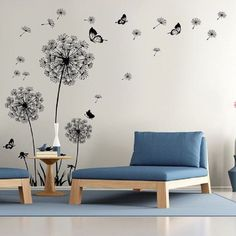 Dandelion Wall Decal - Wall Stickers Dandelion Art Decor- Vinyl Large Peel and Stick Mural, Removable (Black)
