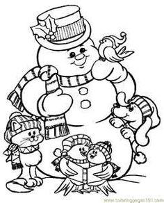 print coloring image Snowman Free printable and Printable