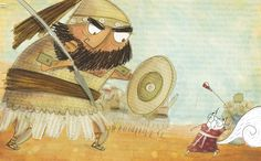 Alby the squirrel fights Goliath the giant. Illustration by Catalina Echeverri in Alby's Amazing Book: a story about a squirrel who loves to read the Bible!