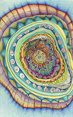 "Flowering Spiral-print by M. Kolsoum Ginney mixed media ~ 14"" x 11"""