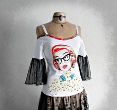 Retro 80's Style Off Shoulder Dress Black by BrokenGhostClothing,
