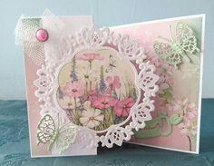mooie roze kaart met de mal van Riet