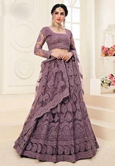 Look breathtaking in this Violet Color Net Designer Embroidred Plus Size Lehenga Choli. lehenga is beautified with cording heavy embroidery patterns on the Lehenga Reception, Indian Wedding Lehenga, Bridal Lehenga Choli, Lehnga Dress, Indian Bridal, Saree Blouse, Lehanga Saree, Wedding Lehanga, Indian Lengha
