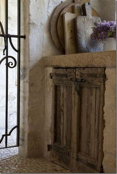 Country French decorating ideas ~ love the idea of adding antique doors to an outdoor kitchen with a limestone counter. Rustic French, French Farmhouse, French Decor, French Country, French Cottage, French Style, Farmhouse Decor, Classic Style, French Kitchen