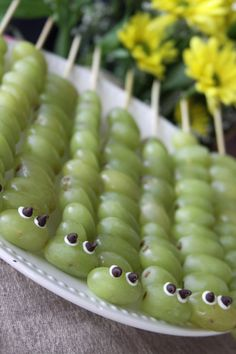 Healthy And Fun Snack For Kids – Caterpillar Grape Kabobs | A Spotted Pony Can't wait to make these for the grandsons!