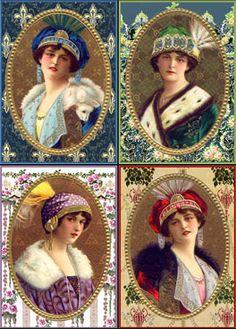 Bridge tallies, Victorian-themed wallpaper reproduction of ladies wearing turban style hats