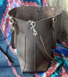 Oil tanned brown MXS distressed leather tote bag by LocknKeyLeathers @ $294.00