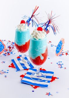 Firework Explosion Red White and Blue Cocktail