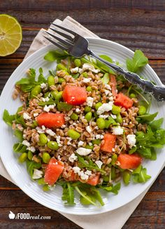 Edamame, Watermelon  Arugula Farro Salad - protein  fiber explosion in this clean wholesome salad. A complete meal. Eat real food and lose weight! 273 calories  7 WW points . Stays fresh refrigerated for up to 2 days and makes a great leftover lunch. Kids ate it! Recipe from iFOODreal.