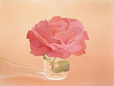 Rose in glass. Watercolor by the late, great Mark Adams