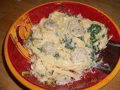Adapted from Al fresco/ Classico Recipe. My version of Spinach & Feta Chicken Sausage Fettuccine with Light Asiago Romano Alfredo Sauce