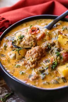 Sausage Potato Soup, Italian Sausage Recipes, Creamy Potato Soup, Soup With Italian Sausage, Italian Chicken Soup, Recipes With Italian Sausage And Potatoes, Healthy Potato Soup, Italian Sausage Sandwich, Chicken Potato Soup
