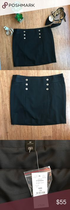 NWT WHBM Black Mini Skirt With Silver Buttons Brand new gorgeous mini pencil skirt. Has six cute silver buttons in the front. There are also two front pockets. Skirt has a clasp and zipper on the side. Great for business or formal event. Fully lines. Poly/rayon/spandex blend. Bundle and save! White House Black Market Skirts Mini