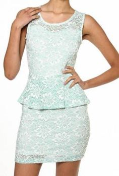 My Betrothed Floral Laced Peplum Dress in Mint dress 11