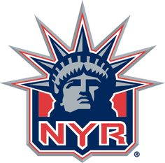 New York Rangers Alternate Logo (1997) -  Ranger shield in 3D with Statue of Liberty head and NYR in red