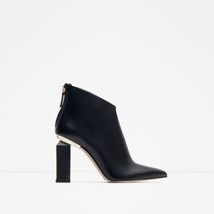 Image 1 of LEATHER AND METAL HEELED BOOTIES from Zara