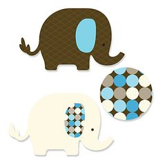 Blue Elephant - Shaped Party Paper Cut-Outs | BigDotOfHappiness.com