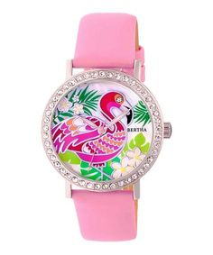 Love this Silver & Light Pink Luna Mother-of-Pearl Leather-Strap Watch on #zulily! #zulilyfinds