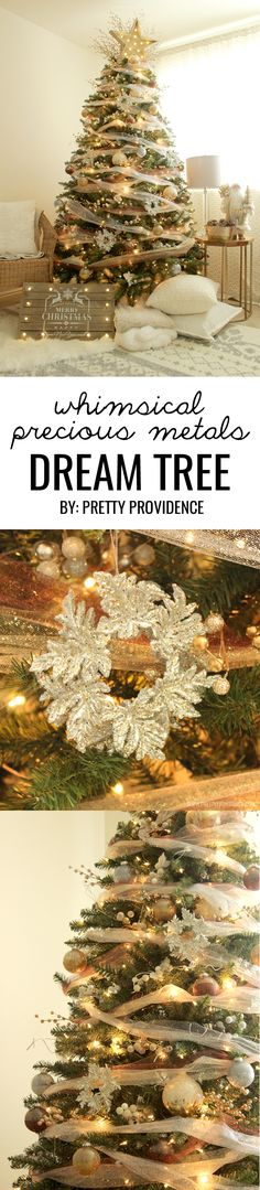I am in love with this whimsical precious metals Christmas tree! Doesn't it just make you want to curl up with a blanket and watch lights dance for hours? Click through for how to's and more images! #michaelsmakers #dreamtreechallenge
