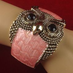 Vintage Pink Enamel Retro Owl Cuff Bangle Bracelet JMVS019 |We combine shipping|No Question Refunds|Bid $60 for free shipping. Starting at $1