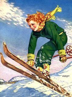 Snow Queen by Ellen Barbara Segner vintage pinup girl skiing Ski Vintage, Vintage Ski Posters, Vintage Winter, Vintage Art, Vintage Woman, Wilde Hilde, Ski Bunnies, Ski Mountain, Snow Skiing