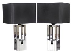 Pair of chrome cityscape table lamps. Designed by Lumica, c.1970. Spain. 28.7 x 15.7 x 15.7 inches