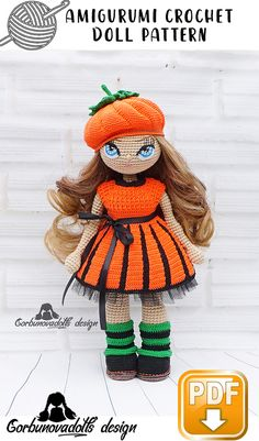 This pattern is a Photo tutorial which includes body, hair instructions, face decoration, bra and panties, dress, boots and leg warmers, cap, tulle underskirt. The eyes pattern is also included. #etsy #crochetamigurumi #crochetamigurumipattern #CrochetDollpattern #AmigurumiDollpattern #crochettoypattern #amigurumitoypattern #halloweenpattern