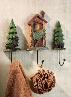 Set of 3 Outhouse Cabin Bathroom Wall Hooks