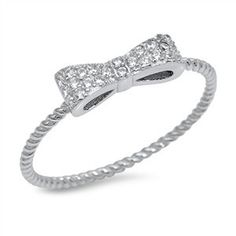 Sterling Silver Bow Tie CZ Ring w/ Ridges Sz 4-10 105521123456