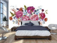 Akwarela floral bouquet z burgundii piwonie w stylu vintage Fototapeta • Fototapety wieniec, piwonia, jeżyna | myloview.pl