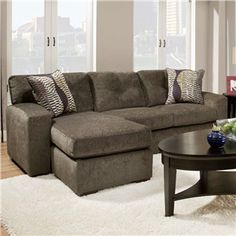 American Hematite Sofa Sleeper with Chaise